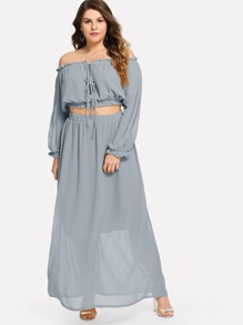 Plus Off Shoulder Lace Up Top & Skirt Co-Ord
