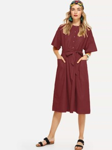Self Tie Pocket Front Dress
