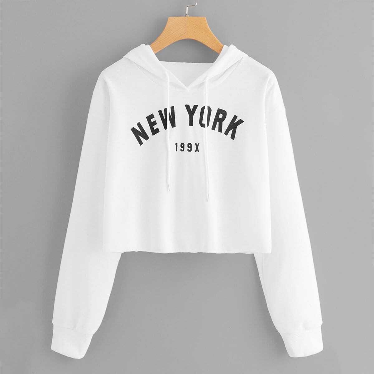 Letter Graphic Crop Hoodie