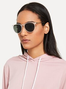 Tinted Lens Frosted Frame Sunglasses