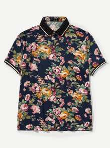 Men Floral Print Striped Trim Polo Shirt