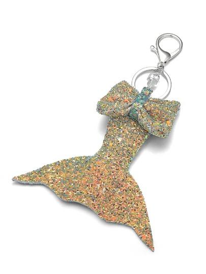 Glitter Fishtail   Bow KeychainFor Women-romwe 043bf8fd85