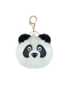 Panda Shaped Pom Pom Keychain