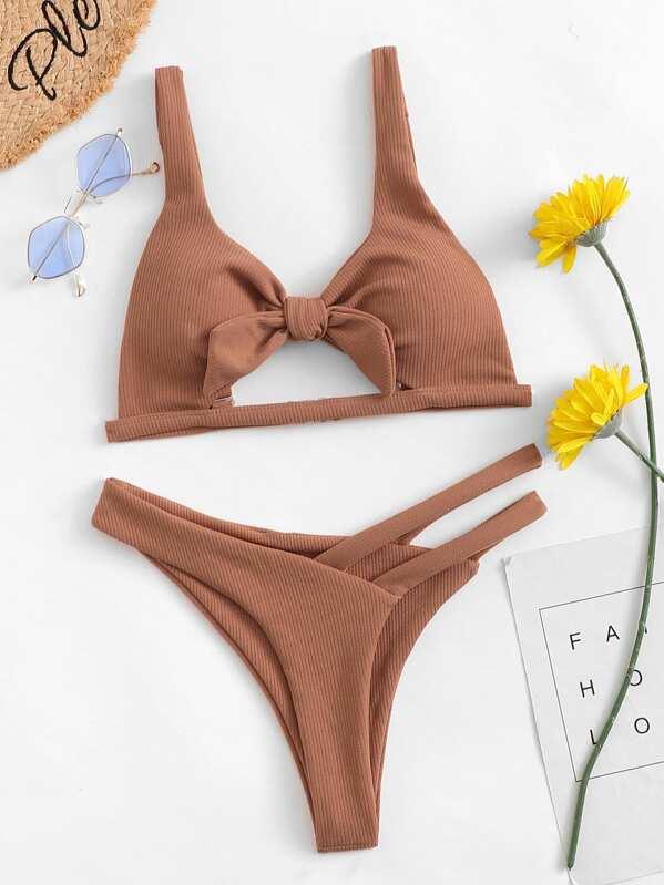 2ff4d6bbbd Cheap Cut-Out Knot Front Bikini Set for sale Australia | SHEIN