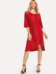 Cut Out Front Knot Overlap Dress