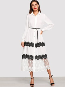 Eyelash Lace Trim Embroidered Mesh Hem Shirt Dress