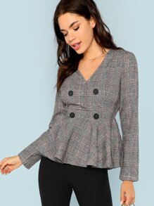 Double Button V-Neck Plaid Blazer