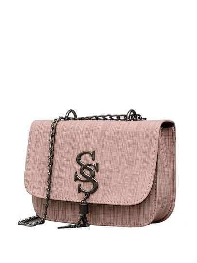 4fed058e6c2c7 حقيبة الوردي بطباعة شراشيب مع سلسلة PU