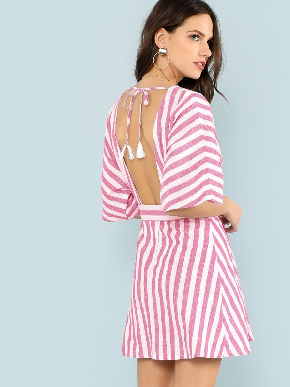 ac173e4b1184 Deep V Neck Button Front Striped Dress | SHEIN