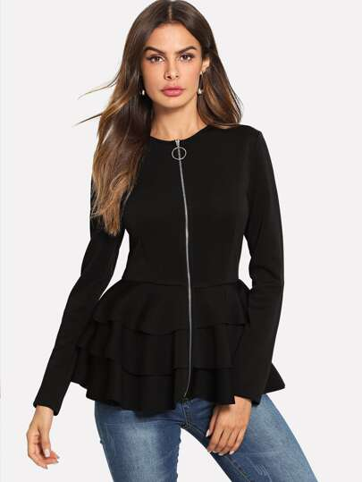 O-Ring Zip Up Tiered Layer Hem Coat
