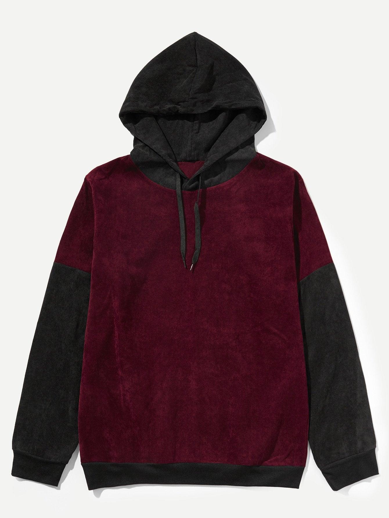 Men Contrast Sleeve Hooded Sweatshirt Men Contrast Sleeve Hooded Sweatshirt