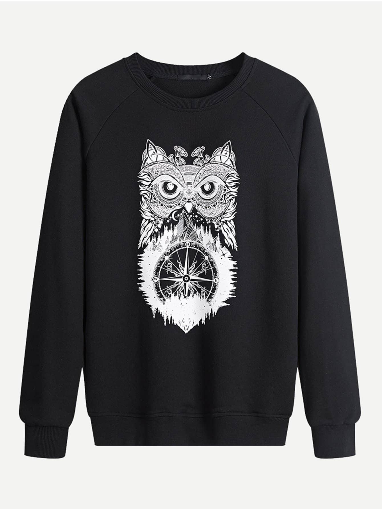 Men Owl Print Sweatshirt Men Owl Print Sweatshirt