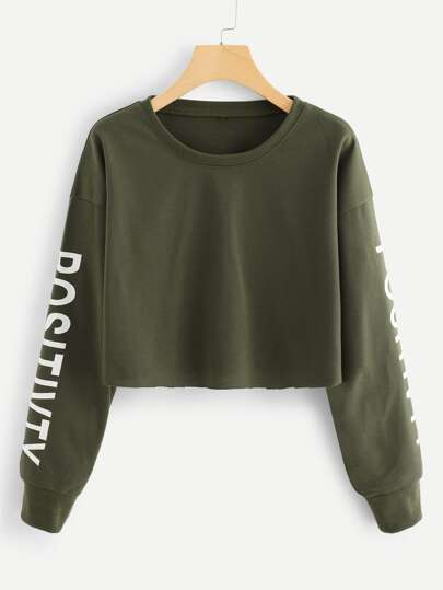 Slogan Graphic Crop Sweatshirt