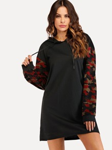 Drawstring Hoodie Camo Sleeve Sweatshirt Dress