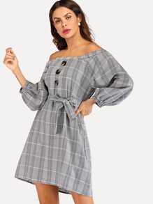 Plaid Single Breasted Off The Shoulder Belted Dress