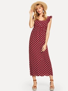 Scallop Hem Polka Dot Ruffle Trim Dress