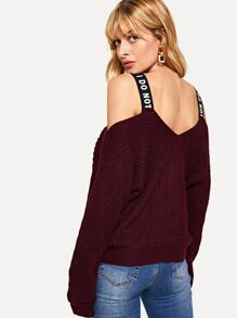 Cold Shoulder Letter Print Sweater