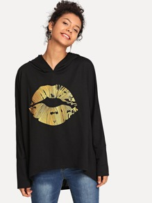 Golden Print Hooded Sweatshirt