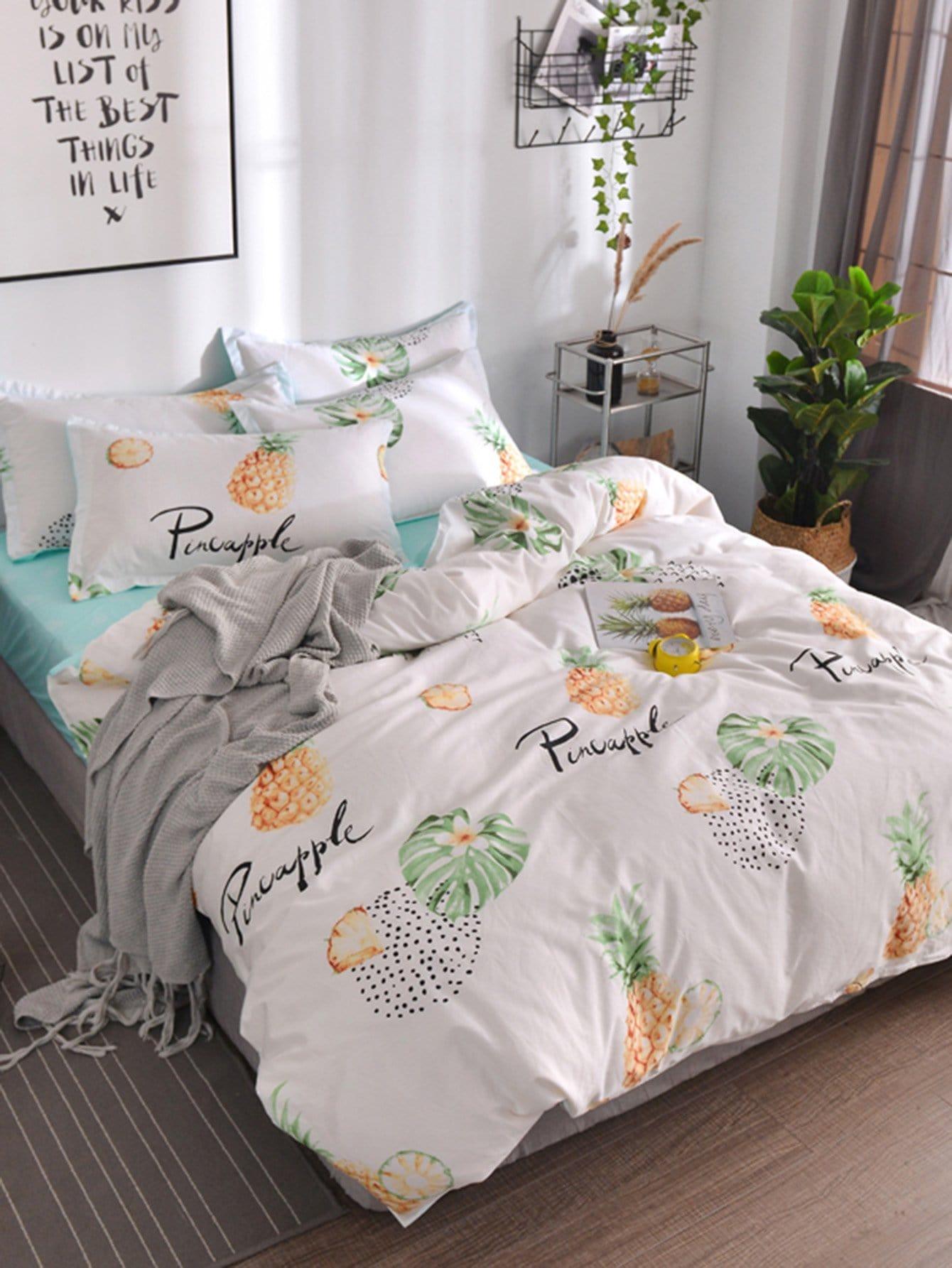 Housse de couette imprim e plante et ananas 1 pi ce french romwe - Housse de couette one piece ...