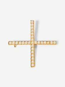 Faux Pearl Cross Design Brooch