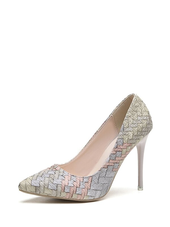 Woven Print Stiletto Heels by Sheinside