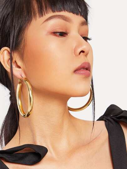 Open Metal Hoop Earrings 1pair