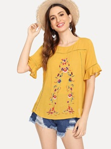 Lace Insert Flower Embroidered Top