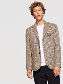Men Single Breasted Patched Front Plaid Blazer