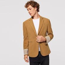 Men Single Button Striped Trim Sleeve Blazer