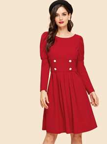 Double Button Puff Sleeve Pleated Dress
