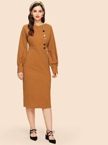 Button Front Bishop Sleeve Dress