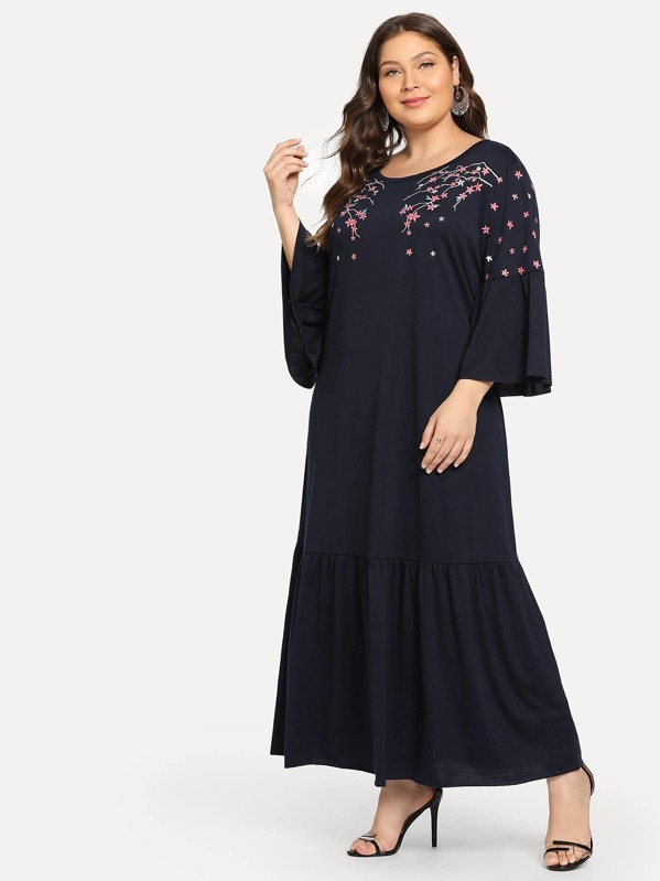Plus Flower Embroidery Drop Waist Dress | SHEIN