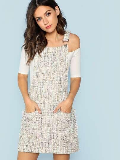 d115795c3b Fringe Edge Tweed Overall Dress