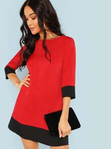 3/4 Sleeve Contrast Trim Tunic Dress