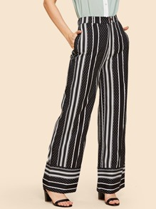 Striped and Dot Print Wide Leg Pants