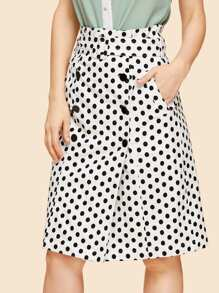 Double Button Polka Dot Tie Waist Skirt