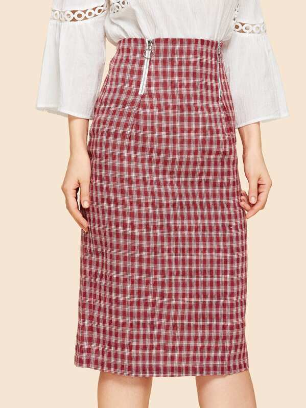 955ae546e O-Ring Zip Front Plaid Skirt | SHEIN UK