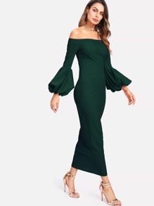 f9a6d3b0da Lantern Sleeve Off Shoulder Maxi Dress | SHEIN