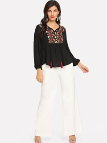 Flower Embroidered Yoke Smock Top