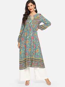 00b099371a Lace Up V Neck Boho Dress With Tassel | SHEIN UK