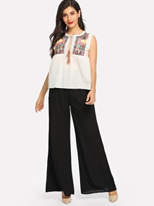 Tassel Tie Split Front Embroidered Sleeveless Top