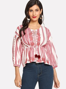Geo Embroidered Pom Pom Detail Blouse
