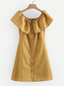 Ruffle Trim Button Through Dress