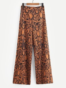 Snakeskin Print Zip-Up Pants