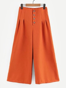 Solid Button-Up Wide Leg Pants