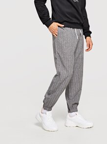 Men Striped Drawstring Pants