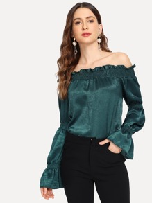 Frill Trim Off The Shoulder Blouse