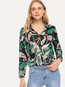 Single Breasted Graphic Print Blouse