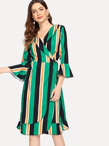 Ruffle Hem Striped Wrap Dress