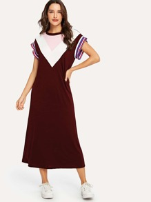 Chevron Colorblock Striped Ruffle Trim Dress